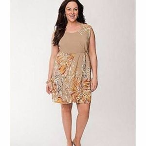 Lane Bryant abstract gathered silky dress
